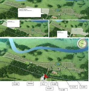 Общая схема поселка, с участками, с разбивкой 3х схем